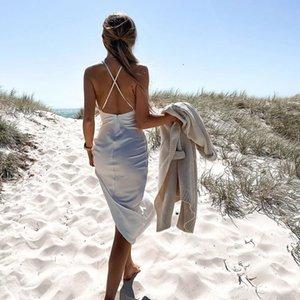 Sexy Back Cross Satin High Split Dress White Low Collar Backless Summer Beach Dress 2020 Elegant Spaghetti Strap Midi Dresses