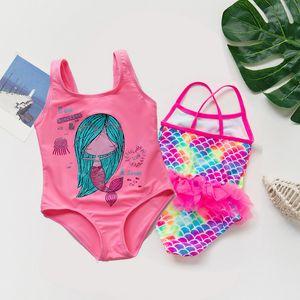1-5 Years 2020 Summer Girls Swimsuit Mesh Ruffle One Piece Children Beachwear 2 Pieces Bathing Suits