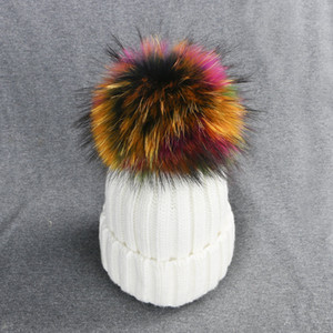 Real Fox Fur Kids Women Warm Pom Pom Hats Thick Fleece Colorful Faux Fuzzy Fur Rainbow Winter Hat for Ladies Girls Canada