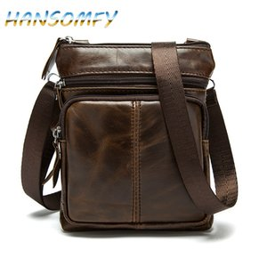 HANSOMFY Messenger Bag Ombro Dos Homens Genuínos Bolsas De Couro Flap Pequeno homem homem Crossbody sacos para homens saco de Couro natural X2-12