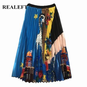 Realeft Nouvelle Arrivée Printemps Femmes de Bande Dessinée Imprimé Élégant Plissée Jupes Longues Taille Haute Harajuku Tulle A-ligne Jupes Mi-Mollet Y19043002
