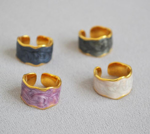 porcelain jewelry enamel rings adjustable open ring gold plated rings accessories jewelry women free shipping with gifts
