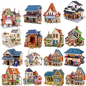 Kids Toys Jigsaw 3D Puzzle House Building Wooden Toys Chalets Wood Toy Puzzles Baby Montessori Toys brinquedos Y200317