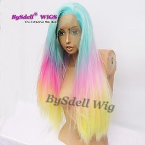 sirena ombre pastel azul rosado amarillo color del arco iris peluca larga recta pelucas delanteras del cordón sintético para la venta