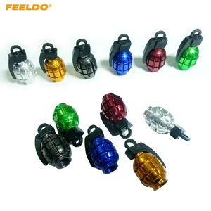 FEELDO 4PCS / Set Grenade-образный сплав Valve Caps велосипедов MTB BMX шин Valve Anti-Dust Covers Top 6-Color # 5489