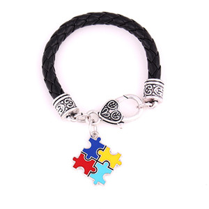 Huilin Jewelry Classic Red Yellow Royal Blue & Turquoise Enameled Autism Jigsaw Puzzle Charm Bracelet for men and women