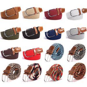 Мужская мода Эластичный пояс Stretch 40 цветов Женщины Повседневная Плетеный Waistband Творческий Mens сплетенный холст пряжкой ремня TTA-1061