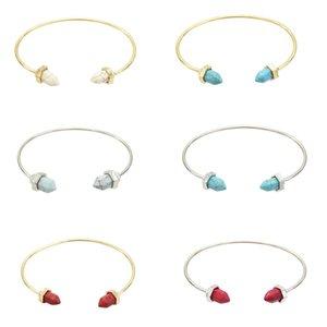 2 цвета золота Природный камень бирюза браслеты Горячие Геометрическая шестиугольная призма ворса искусственного Marbled камень Браслет-манжета браслет для женщин