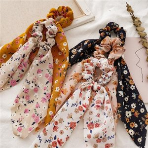 5 Colors Vintage Hair Scrunchy Flower Printed Ins Women Accessories Hair Ring Bands Ties Scrunchie Ponytail Holder Rubber Rope Decoration