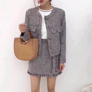 ZAWFL Yüksek Kaliteli 2017 Yeni Moda kadın giysileri Uzun Kollu zarif tüvit ceket ve iki parçalı set etek