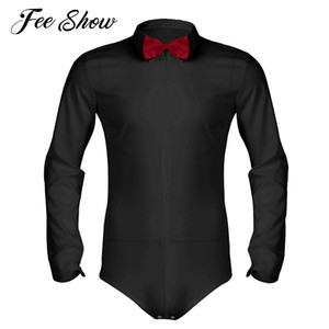Feeshow Mens Long Sleeve Zipper Romper Tuxedo Shirt Camisas Hombre Solid Color Soft Smooth Latin Modern Dance Shirt with Bowtie
