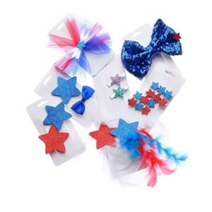 Clipe de novas meninas miúdos American Hair Acessórios Nacional Cabelo Dia da Independência Estrela Dia Bow bebê Sets