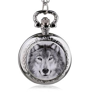 Neue Art und Weise Wolf-Quarz-Taschen-Uhr-Halskette Herren-Uhr-Frauen