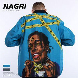 2019 Tide Nagri Carte Tendance Wear Asap Rocky Rap stand Style Hommes col de manteau de veste en vrac