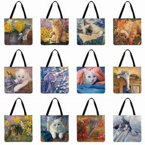 حقيبة كتف المرأة جميلة الرعوية القط المطبوعة حقيبة الكتان Febric عارضة حمل الحقائب طوي التسوق Beachbag الأزياء