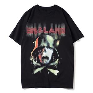 estate nuovo modo di marca dipinto a mano graffiti soldati scheletro stampa maniche corte maglietta mentee O-Collo casuale T-shirt da uomo in cotone
