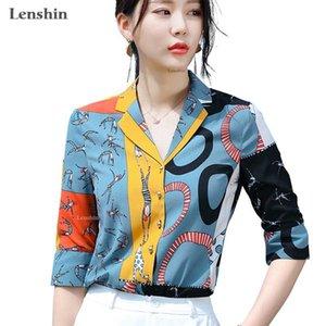 Lenshin Halbarm Multicolor Print Shirts für Frauen weiche Bluse Arbeitskleidung Büro-Dame Sommer Frauenoberteile Chemise