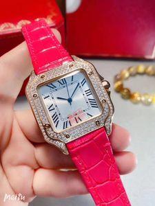Новые женские часы импортный кварцевый механизм розовое золото безель набор с яркой огранкой круглый бриллиант диаметром 35 мм