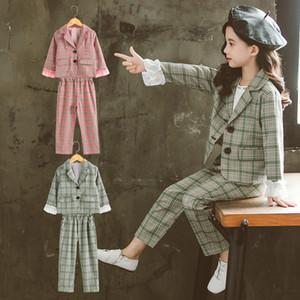 Raparigas Adolescentes Vestuário Conjunto De Raparigas De Outono Casacos De Fato Xadrez + Calças Roupas De Fato Da Escola Crianças Roupas 4-13 Anos