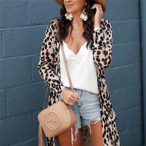 Donna Autunno Inverno Leopard Apri Stitch camicetta cappotto casuale Stright con tasche Giacche