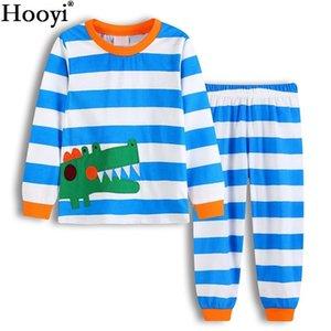 Hooyi 2018 Timsah Erkek Bebek Pijama Uzun Elbise Suits Mavi Çizgili Bahar Çocuk PJ'S Uyku Suit Pamuk Pijamas Tişört Pant