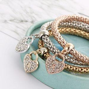 Coeur Bracelets 3pcs / set Bracelets femmes Charm alliage cristal d'amour Bracelets bijoux Bangles jour cadeau LJJO7585 Saint-Valentin