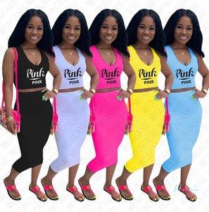 Vestito delle donne vestiti sexy due pezzi Club Outfits tuta lettere di modo Stampa Bassiera carro armato Top + Vestito aderente Imposta D42404