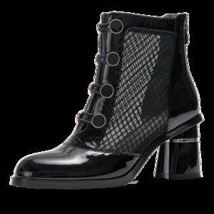 Женская натуральная кожа сетка лоскутное Боттон женщина пружинных новые толстые высокой пятки удобные короткие ботильоны назад застежка-молния обувь