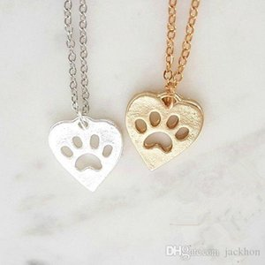 10PCS Paw Print Heart Necklace Pet Puppy Dog Paw Necklace Bear Cat Love Paw Necklaces Decoupage Animal Print Necklaces