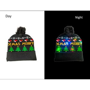 1PCS Outdoor Sport Running Christmas Knitted Hats Cute LED Light-up Xmas Knit Beanie Adults Caps