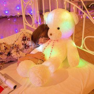 50 cm iluminación creativa arriba LED oso de peluche de peluche de peluche de peluche juguete colorido brillante regalo de Navidad para niños almohada