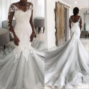 Afrikanische Spitze Illusion Zurück Mermaid Brautkleid 2020 Prinzessin Muslim Long Tail Brautkleider mit Ärmeln