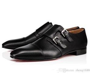 Marque Chaussures Gentleman Hommes Rouge Bas Mocassins luxe Oxford Buckles Véritable Red Party Semelle en cuir Robe de mariée Chaussures de marche