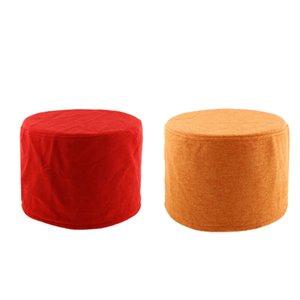 2 Stück Baumwolle Rund Hocker Abdeckung Für 28cm / 11inch Dia Fußbank Orange / Rot