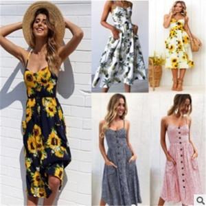 Pop2019 Ladies Xia Pattern Printing Camisole Dress Reveal Back Skirt 12 colori