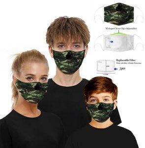 Filtro digital máscara máscaras del fiesta de Halloween Cosplay Deportes de la cara de la bandera cráneo reutilizable del polvo anti máscara máscaras PM2.5 anti-niebla de protección GGA3356-5