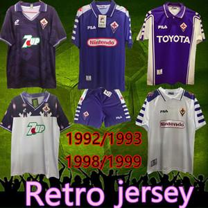 الرجعية جيرسي 1992 1993 فيورنتينا كرة القدم بالقميص خمر BATISTUTA RUI COSTA مخصص 1998 1999 فيورنتينا كرة القدم قميص Camisas دي Futebol