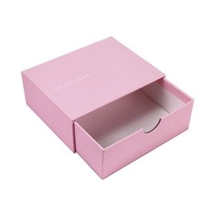 caja de cajón deslizante envases pequeños logotipo personalizado impreso rosado de lujo