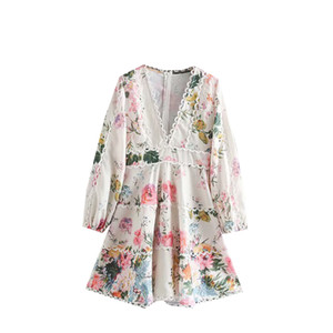 Design Runway Fashion Frühlings-Kleid-Frauen Neu kommen Blumen-Druck-Kleid mit Puffärmeln reizvolle tiefe V höhlen heraus Spitze Qualitäts-Kleid