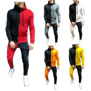 Мужские Tracksuit Осень Повседневная Мужчины Tracksuit наборы Мода 3D Градиент Sweatsuit толстовки Толстовка Sweatpant Тонкий Joggers Gym Брюки Костюм мужской