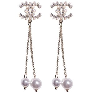 2020High quality fashion designer jewelry earrings women wedding earrings white pearl big earings flower earring