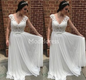 Lace White Wedding Dresses 2019 V-Neck Sweep Train Sleeveless Simple Bridal Gowns Country Style A-Line Elegant vestidos de novia Custom Made
