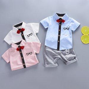 2020 Children's Clothing Sets Summer Baby Boys Gentleman Clothes Suit Kids Bow Tie Short Sleeve Tops + Striped Pants 2 pcs Set