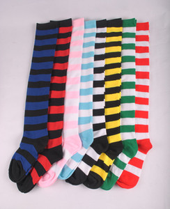 24colorLady Over Knee Long Stripe Printed Stockings Thigh High Striped Patterned Socks Sweet Cute Women Girls students' animation thigh sock