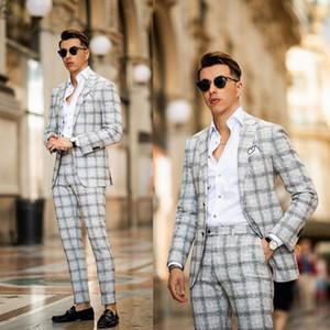 Двухкусочный Мужские костюмы Damier Groom костюм свадебные костюмы для мужчин Лучший Slim Fit Groom высокого качества костюмы De Mariage Pour Hommes