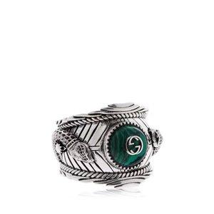 Venda quente S925 anel de prata pura com natureza malaquita e projeto da forma do dragão para as mulheres e homem presente da jóia do casamento + caixa frete grátis PS7