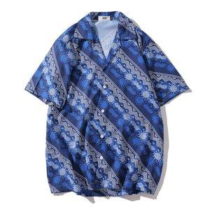 Camisa hawaiana del verano del Mens Nueva Fantasía playa impresa camisas sueltas de la manga corta camisas de Hip Hop