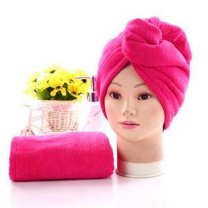 Gorros de ducha para la magia de secado rápido de la microfibra de pelo secado con la toalla turbante Wrap Sombrero Caps Caps Spa Baño de EEA1337-3