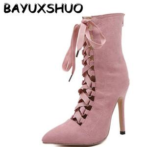 BAYUXSHUO Gladyatör Yüksek Topuklu Kadın Pompaları Genova Stiletto Sandal Patik Sivri Burun Strappy Lace Up Pompaları Ayakkabı Kadın Çizmeler