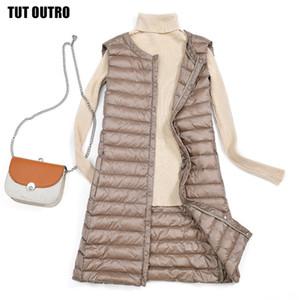 Donne Bianco Anatra Ultra Light di Down Vest donne anatra giù conferisce giacca lunga autunno inverno rotonda cappotto colletto senza maniche